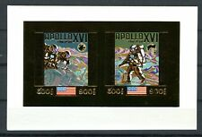Cambodge Cambodia APOLLO 16 Space Espace 1972  Gold Foil Or MICHEL Bloc A 29 B