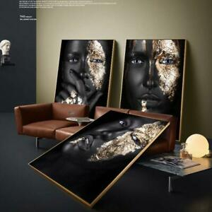 African Art Black Gold Woman Poster Pretty Face Canvas Painting Wall Picture