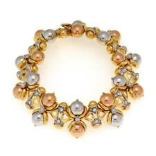 Lovely 1.00ct Diamond 18k Tricolor Gold Fancy Bead Link Bracelet LIQUIDATION