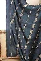 Antique Ikat fabric French flamme 18th century indigo  panel drape LARGE