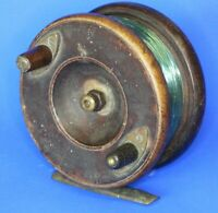 Antique wooden & brass fishing reel, Made in England 4 inch diameter [20881]