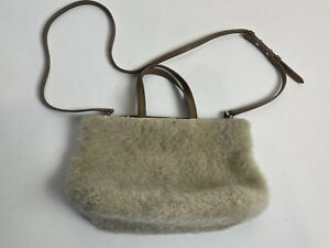 theory Beige Shearling shoulder strap handle purse