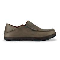 OluKai Men's Moloa Leather Slip-On Shoes - Storm Grey/Dark Wood