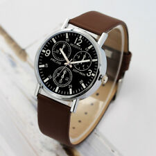 Mens Stainless Steel Leather Strap Watch Military Formal Dress Wrist Watches VS