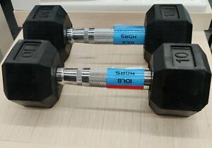 Brand New 10LB HDRS Rubber Hex Chrome Dumbbell Pair - 20LBS Total - FREE 🚚TODAY