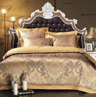 100% Cotton Gold Queen/King Satin jacquard bed set duvet cover pillowcases sheet