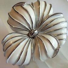TRIFARI PHILIPPE SILVERPLATED CREAM ENAMEL FLOWER BROOCH ESTATE JEWELRY UNWORN