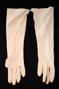 VINTAGE 1950'S LONG  FINE BEIGE COTTON GLOVES SIZE 6