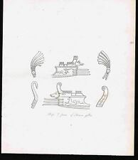 Poops & Prows of Roman Galley Ships - 1809 Copper Plate Engraving