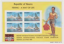 (AI12) 1981 Nauru fishing mini sheet owMS242