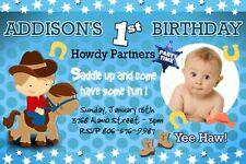 COWBOY WESTERN HORSE BIRTHDAY PARTY INVITATION custom 1ST - c8 baby first invite