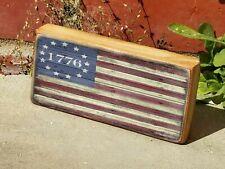 "Mini Wood 1776 American Flag Patriotic Rustic Shelf Sign Block 2.5""X5"""