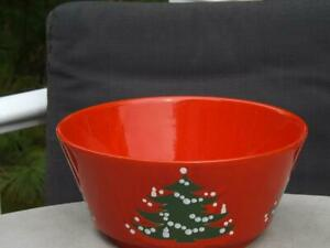 "Waechtersbach Christmas Tree Red Serving Salad Bowl 8 3/4"" Mint Condition"