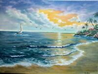 "Art16""/12""oil hand painting,sunset, Seascape,ocean painting,tropical island,calm"