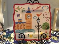 "11"" Port Townsend London England Earthenware Square City Scene Plate Big Ben"