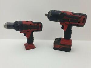 Snap On CTEU8850 Impact Gun and CDR8850H Drill With 1 x 4.0Ah Battery