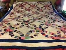 Double Wedding Ring Quilt Made From Vintage Fabrics New Handmade HandQuilted