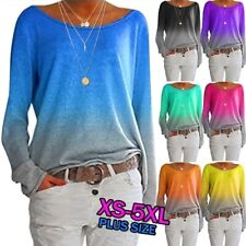 Fashion Womens Long Sleeve Gradient Color T-shirt Ladies Casual Loose Basic Tops