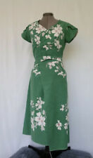 Kelly Green Floral Blossom Wrap Dress from Vintage Tablecloth