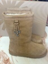 NWB UGG Girls LARYNN Chestnut Suede Boots Sparkly Brand Charms Size 6 Big Kid