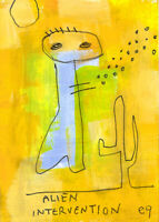 20122604 e9Art ACEO Alien Outsider Abstract Figurative Art Painting Expressionis
