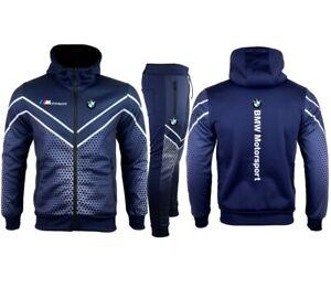 Jogging veste capuche BMW Motorsport bleu nuit bandes blanches E164-2 adult kids
