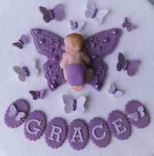 Edible butterfly personalised baby Christening/1st birthday cake topper purple