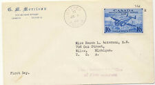 New listing Canada 1942 First Day Cover 16c Special Delivery Airmail #Ce1 Ottawa to Usa X
