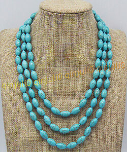 3 Rows 8x12mm Natural Blue Turquoise Round Rice Beads Gems Necklaces 17-19''