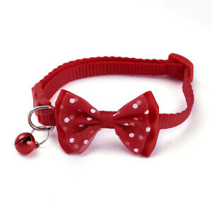 Cat Collar With Bow Tie And Bell Adjustable Size Multiple Colors Ships Same Day