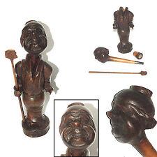 ANCIENNE PIPE A SYSTEME BOIS SCULPTE MOINE XIXème