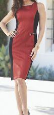 NWT Midnight Velvet Size 12 Red and Black Textured Sleeveless Dress