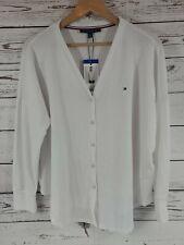Tommy Hilfiger Cotton Waffle Tie Front Button V-Neck Shirt Top White L 1158