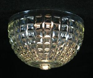 Table boudoir domed glass lamp shade with faceted squares