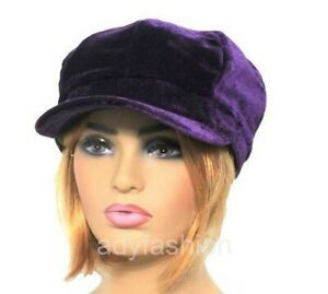 Womens Baker Boy Hat PURPLE Faux Velvet Ladies Newsboy Cap Quality