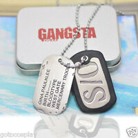 GANGSTA Gina Paulklee Alloy Military Card Cosplay Necklace Chain S/O Dog Tag+Box