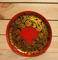 Vintage Russian hand painted floral wood tole platter dish