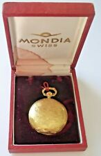 Vintage Boxed MONDIA SWISS Full Hunter Gold Plated Mechanical Pocket Watch