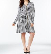 International Concepts Plus Size Patterned Sweater Dress, Black/White, 3X