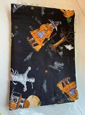 "Spooky Night Halloween Creepy Spooky Black Fabric Tablecloth Decor 60"" Round New"