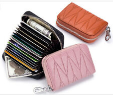 Genuine Leather Accordion Style Credit Card Holder Women's Wallet RFID Blocking
