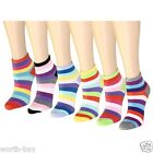 New Lot 12 Pairs Womens Girls Ankle Socks Multi Color Size 9-11 Striped Low Cut