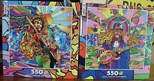 Jimi Hendrix & Peace Love Guitar Player Puzzles (2) 550pc Psychedelic Ceaco NISB