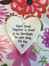 EAST OF INDIA WHITE PORCELAIN HEART MESSAGE HANGER MANY DESIGNS SOLD FOR HOSPICE