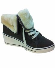 Womens Fur Lined Winter BOOTS Ladies High Top Ankle Shoe Girls Grip Sole Trainer Grey 3 UK