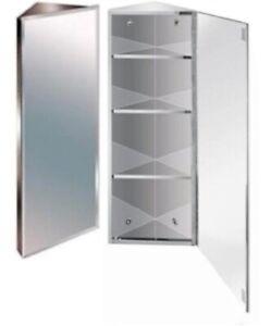 Stainless Steel Mirror Bathroom 900mm Corner Cabinet Bevelled Edge Reversible