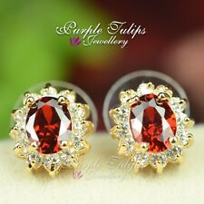 9CT Yellow Gold Plated Ruby Stud Earrings Made With Swarovski Crystal