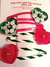 Gymboree I Love Soccer Collection Hair Barrette Clips NWT Hearts Summer Out Girl