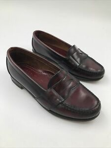 Cole Haan Made In U.S.A. Maroon Leather Shoes Penny Loafers Slip On 8.5
