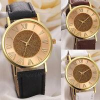 Gorgeous Ladies' Glitter Dial Dress Wristwatch Leather Analog Quartz Gift Watch